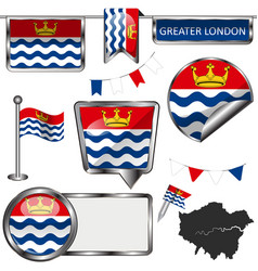 Glossy icons with flag of greater london uk vector