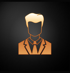 Gold user man in business suit icon isolated vector