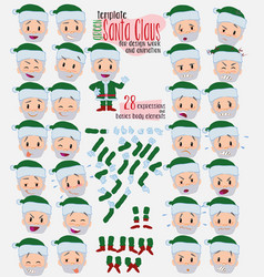 Green santa claus twenty eight expressions and vector