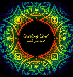 Greeting card with rainbow color and black pattern vector