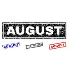 grunge august scratched rectangle watermarks vector image