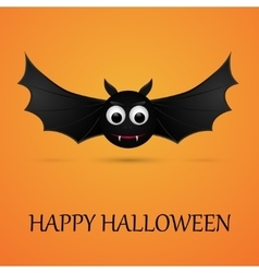 Halloween orange background with flying bat vector image