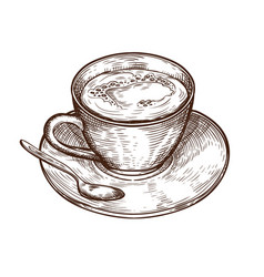 hand drawn cup of hot drink vector image