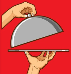 Hands Opening Tray of Food vector image