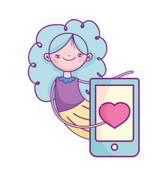 happy valentines day cute girl with smartphone vector image