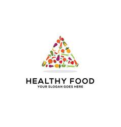 Healthy food logo design fresh fruits vector