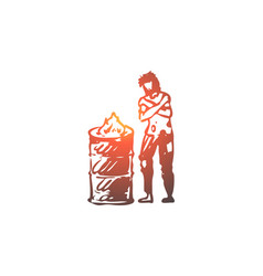 homeless fire poor problem trouble concept vector image