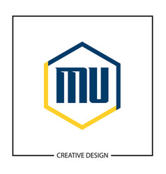 initial letter mu logo template design vector image