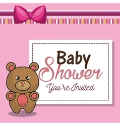 Invitation baby shower card pink with bear desing vector