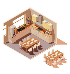 Isometric kitchen interior cross-section vector