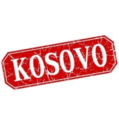 Kosovo red square grunge retro style sign vector