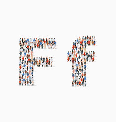 Large group people in letter f form vector