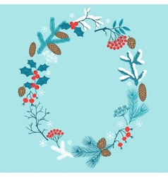 Merry Christmas frame with stylized winter vector