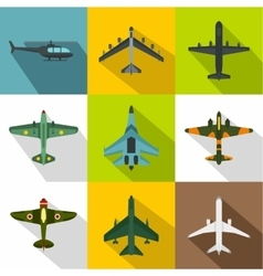 Military aircraft icons set flat style vector image