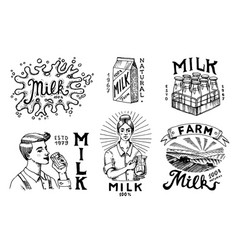 milk set cow and woman farmer milkmaid and blot vector image