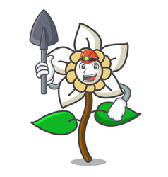 Miner jasmine flower mascot cartoon vector