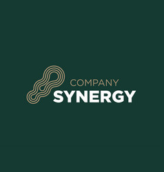 modern professional logo synergy in green vector image