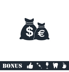 Money Bags with currency symbols icon flat vector image