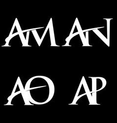 Monogram logo design am-an-ao-ap vector
