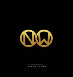Nw initial letter linked circle capital monogram vector