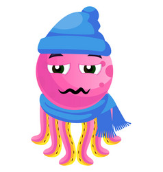 octopus in winter clothes on white background vector image