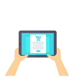 Online order purchase ecommerce tablet in hands vector