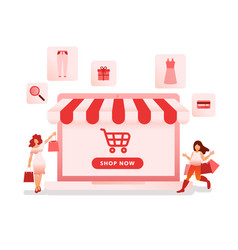 online shopping with laptop vector image