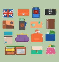 open purse leather wallet with money vector image