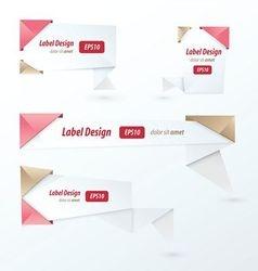 Origami label design love style vector image