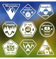 Outdoors tourism camping flat emblems set vector