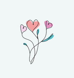 outline abstract heart flowers on white vector image