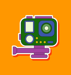 Paper sticker on background of camcorder vector