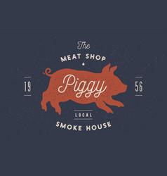 piggy pig pork vintage label logo sticker vector image