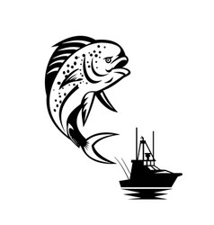 pompano dolphinfish jumping up with fishing boat vector image