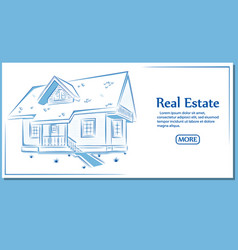 real estate banner in hand drawn style vector image