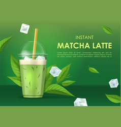 realistic 3d detailed instant matcha latte ad vector image