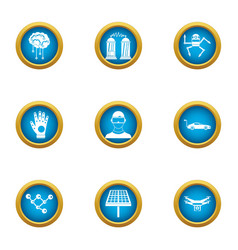Robotization icons set flat style vector