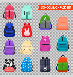 school backpacks transparent collection vector image