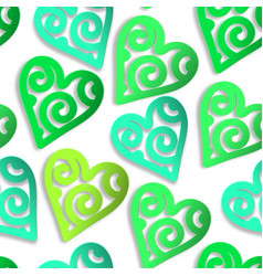 seamless pattern paper hearts green vector image