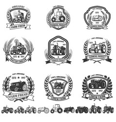 set emblem with tractors design element vector image