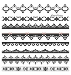 Set of black straight lace Lines Borders vector