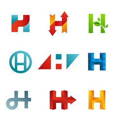 Set of letter H logo icons design template vector