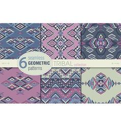 Set of six ethnic seamless patterns Geometric vector image