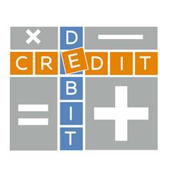 Silhouette debit and credit crossword vector