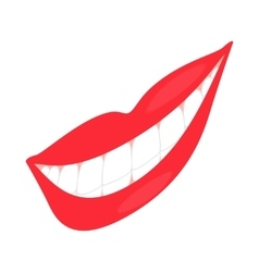 Smiling mouth with healthy teeth icon vector