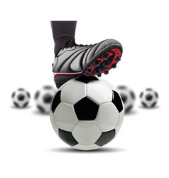 soccer ball with football player feet on it vector image