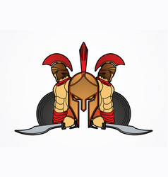 Spartan warriors with sword and shield roman army vector