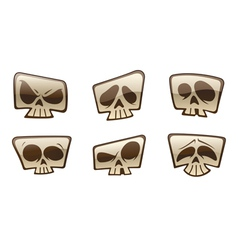 Square skull icons vector