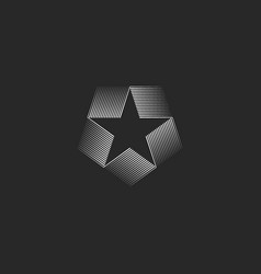 star shape inscribed in pentagon logo geometric vector image