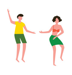 summer beach vacation couple characters dance flat vector image